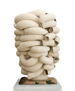 Stack, white, 2010. White earthenware clay, extruded pipe elements roughly modelled together in centre of stack around a wheel-thrown bottom center cone, unglazed, sandblasted when dry, electric-fired. H 80 x Dia. 50 cm. Private collection. Photo: Thomas Tveter