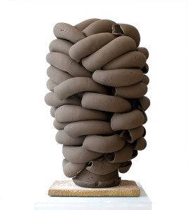 Stack, black, 2010. Black earthenware clay, extruded pipe elements roughly modelled together in centre of stack around a wheel-thrown bottom centre cone, unglazed, sandblasted when dry, electric-fired. H 80 x Dia. 50 cm. Private collection. Photo: Thomas Tveter